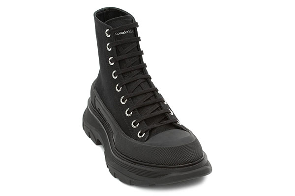 Black canvas lace-up boots from Alexander McQueen